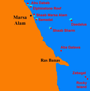 Marsa Alam Diving Information - Map of egypt hotels